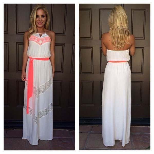 ustrendy ustrendy dress maxi white dress neon dress