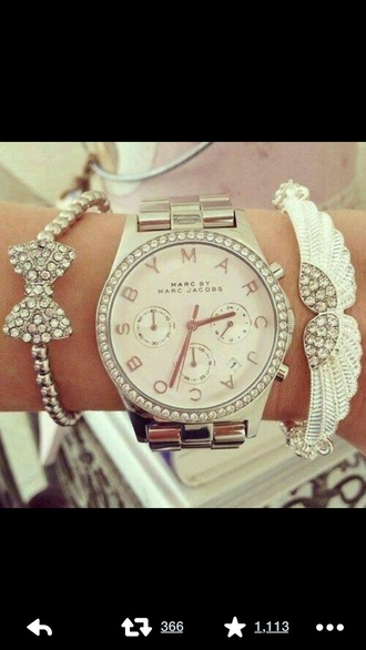 jewels watch marc jacobs watch bracelets stacked bracelets jewelry bow bows bow bracelet bling