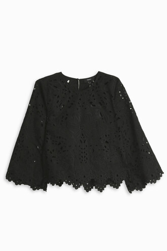top embroidered women black