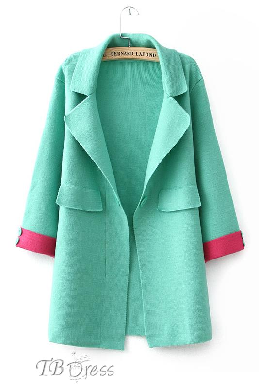 Multi-Color Rolled Cuffs Double Pockets Lapel Cardigan