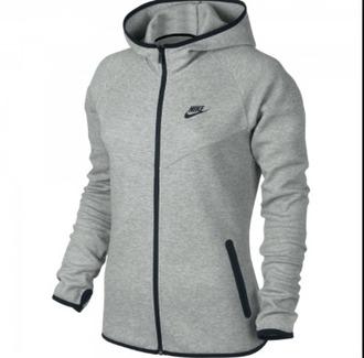 sweater zip nike grey sweater black long sleeves pockets