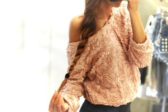 sweater patterned jumper pink jumper rose cute shirt roses top pink adorable