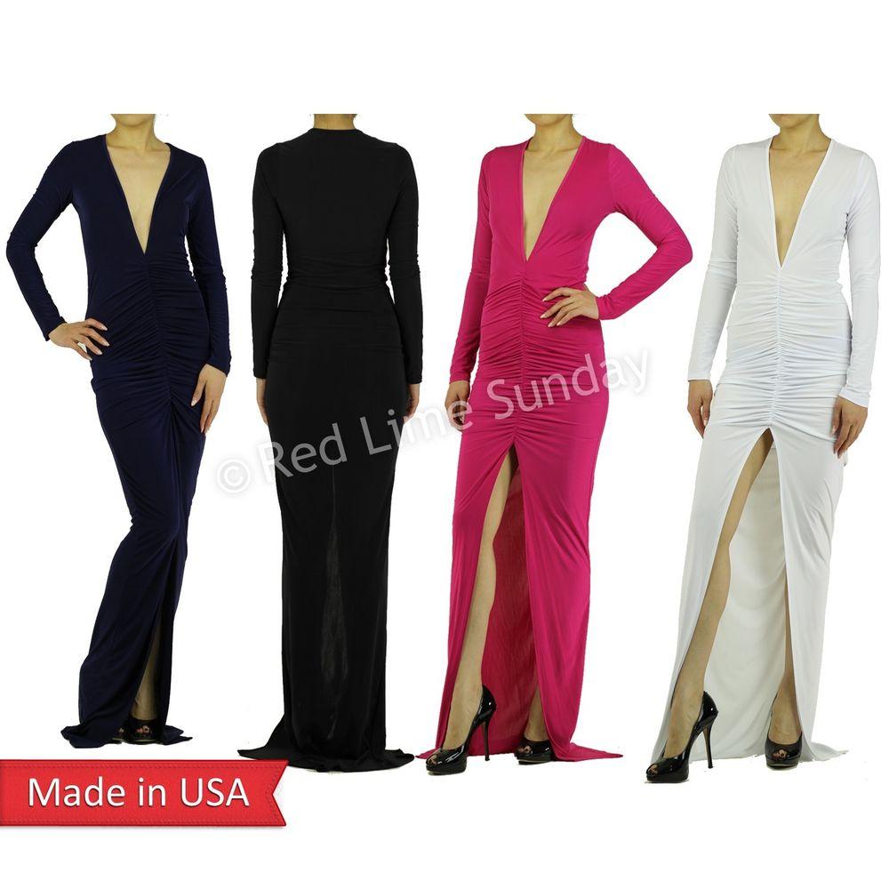New Deep V Neck Center High Split Slit Ruched Full Length Long Maxi Dress USA