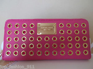 BNWT Michael Kors Studded Hot Pink Leather Zip Around Accordian Wallet Clutch | eBay