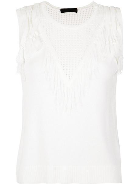Nk - knit tank top - women - Polyester/Viscose - M, White, Polyester/Viscose