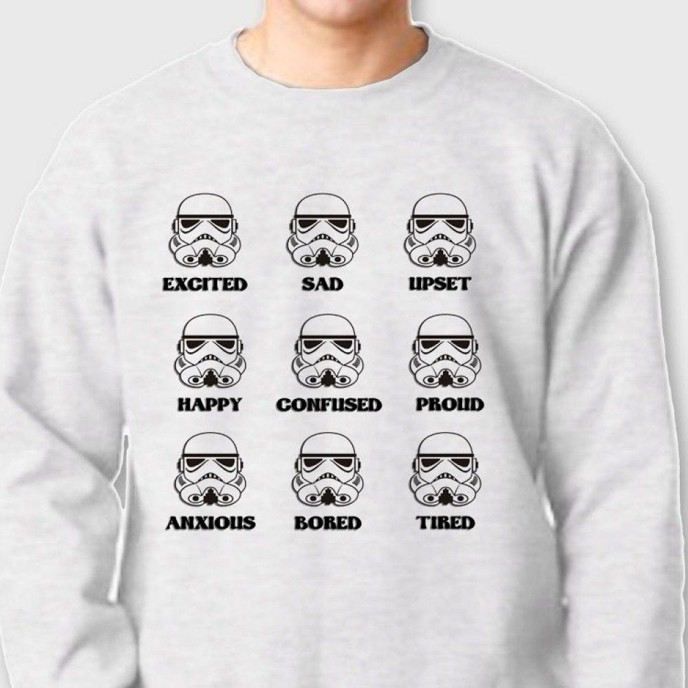 emotions star wars movie t shirt funny crew neck sweatshirt | ebay