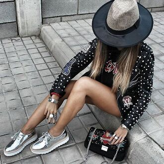 bag tumblr studded jacket black leather jacket leather jacket black jacket silver hat platform shoes silver shoes metallic shoes