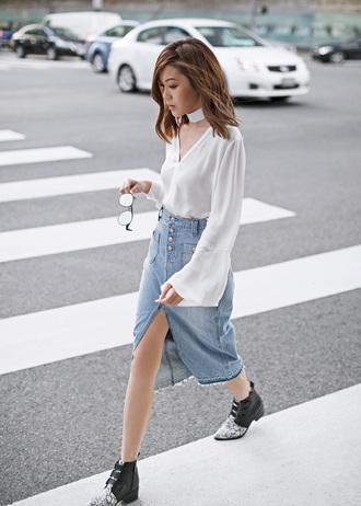 tsangtastic blogger sweater denim skirt white blouse choker necklace black boots denim slit skirt blouse bell sleeves boots ankle boots midi skirt date outfit v neck button up skirt front slit skirt buttoned skirt