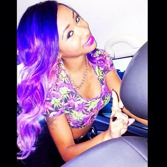 car floral floral tank top black blue purple diamondatl oxygen rapper queen gorgeous beautiful yellow mint jewels necklace chillin thug life bgc bad girls club peace sign peace ciara bravo top