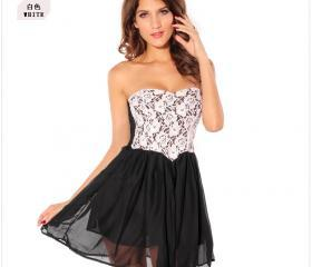 Sweet Lace Pattern Pleated Cotton H..