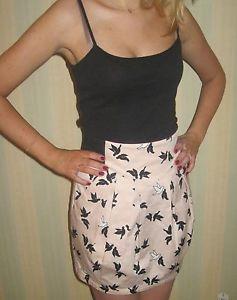 H&M tulip style, pale pink bird print skirt, size 10 | eBay
