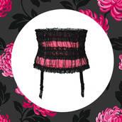 underwear,corset,pink corset,garter belt,pink black corset,ruffle,ruffle corset,ruffled top,lace top,lace corset,lace ruffles,lace ruffle corset,pink black lingerie,ruffle lingerie,sexy lingerie,sexy corset