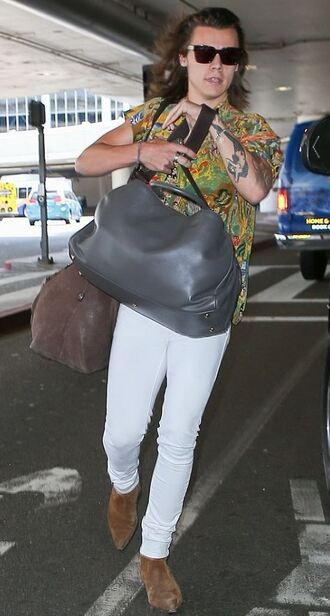 jeans white jeans shirt colorful harry styles one direction