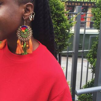 jewels tumblr earrings hoop earrings gold earrings jewelry gold jewelry accessories accessory tassel accent earrings