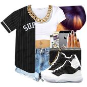 shirt,supreme,supreme t-shirt,jersey,baseball jersey,black,gold,gold chain,white,crop tops,white crop tops,croped,denim shorts,denim,High waisted shorts,light blue,light blue denim,light blue shorts,concord,sneakers,cute outfits,outfit,dope,swag,street,streetwear,shoes,jewels,shorts,jacket,blouse,top,black baseball shirt