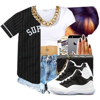 shirt supreme supreme t-shirt jersey baseball jersey black gold gold chain white crop tops white crop tops croped denim shorts denim high waisted shorts light blue light blue denim light blue shorts concord sneakers cute outfits outfit dope swag street streetwear shoes jewels shorts jacket blouse top black baseball shirt