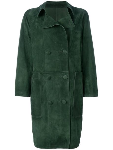 coat double breasted women green