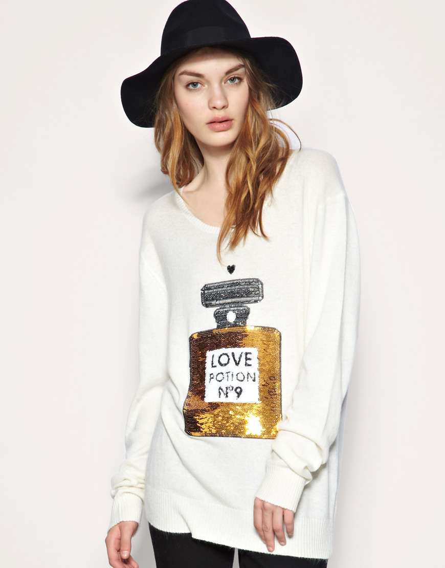 Potion No.9 Perfume Bottle Sequined Knitted Sweater Jumper on Luulla