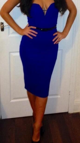 dress blue strapless dress plunge neckline plunge v neck bodycon