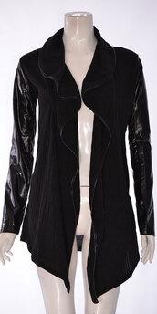 cardigan,women pu full sleeve knitted waterfall cardian black
