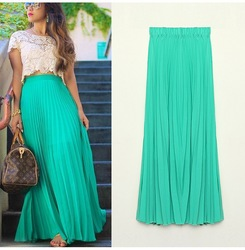 Online shop high quality new 2014 spring summer women fashion long chiffon skirts female candy color pleated maxi skirts pure color skirt