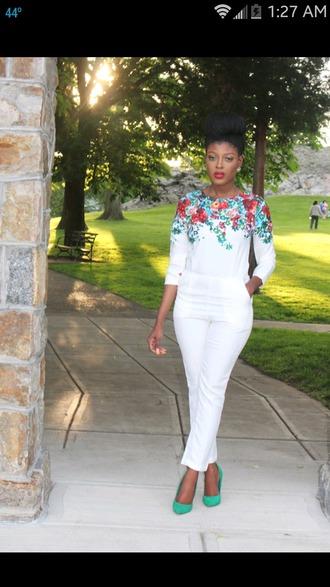 jumpsuit floral jumpsuit white jumpsuit