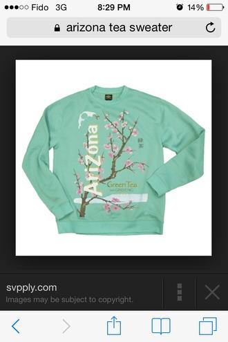 sweater green tea arizona tea turquoise
