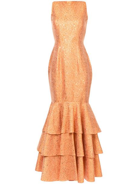 Bambah gown ruffle women silk yellow orange dress