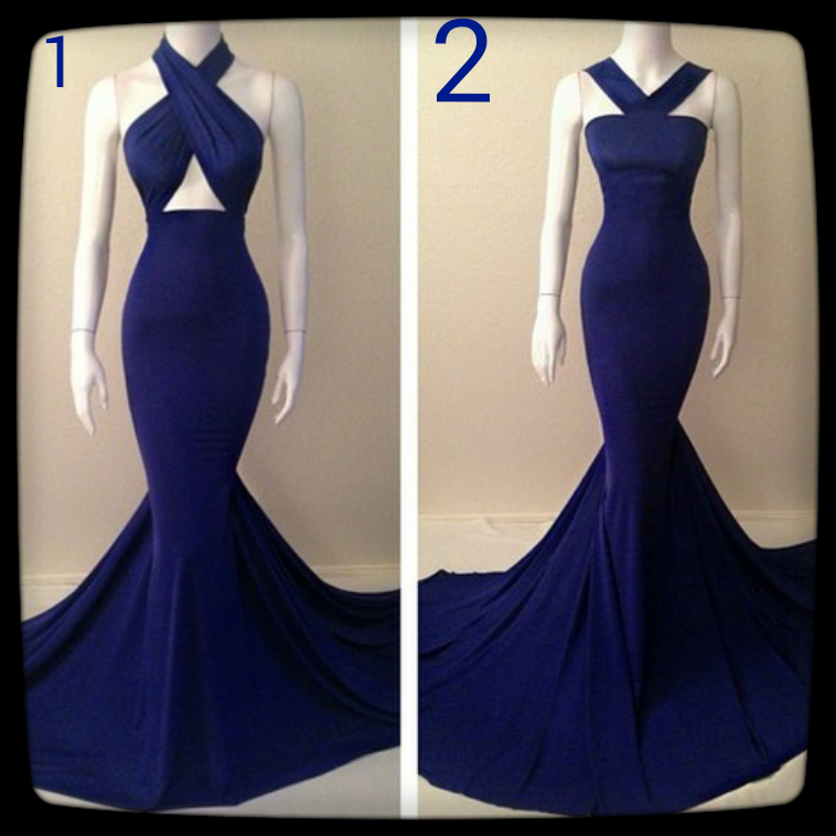 Blue tailored mermaid gown