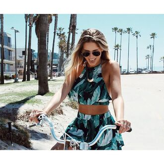 top angl shop angl angl clothing tropical tropical leaf top matching set summer two piece short set