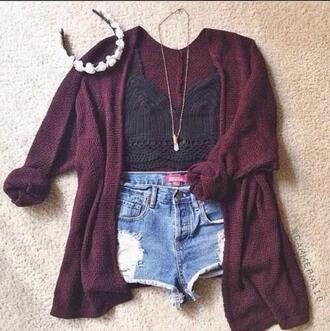 blouse crop tank top crochet top cardigan jacket maroon cardigan black crop top blue jean shorts ripped shorts