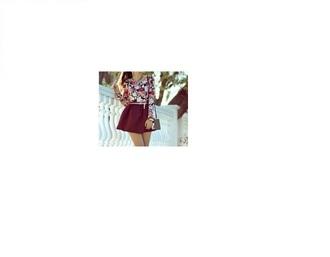 skirt floral red skirt white pink belt floral tank top shoulder bag high waisted skirt