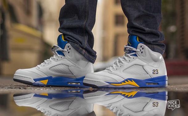 shoes blue shoes yellow white sneakers jordans jordans mens shoes