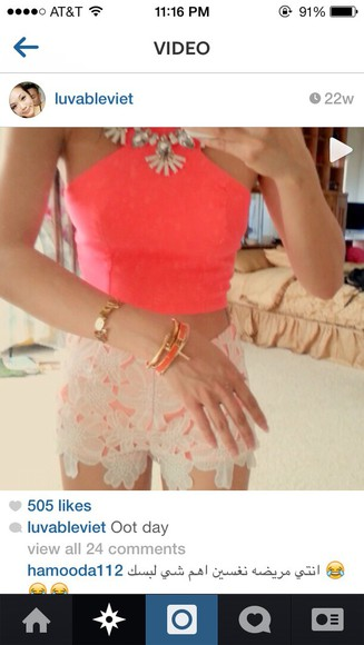 coral top summer outfits lace shorts