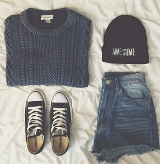 hair accessory cap shorts cardigan shoes converse girl grunge black sweater