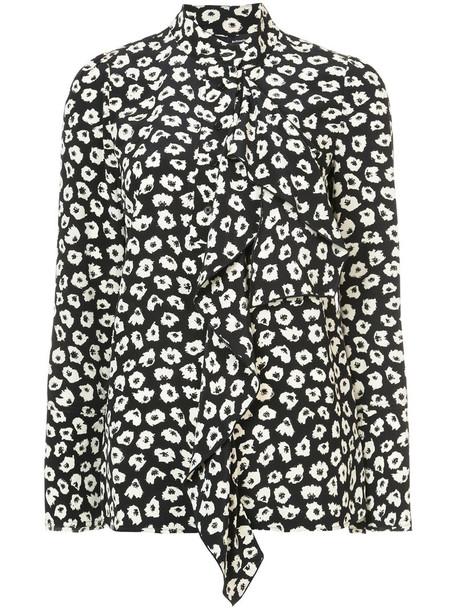 Proenza Schouler blouse long ruffle women black silk top