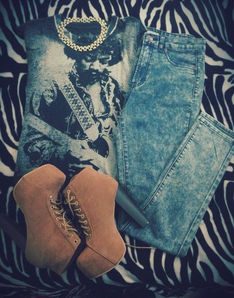 shoes lita platform shirt t-shirt high waisted jeans black gold necklace hendrix rock pants jewels