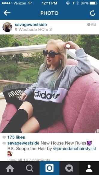 jacket adidas thigh highs boots heels sunglasses fashion streetwear