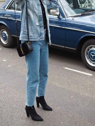 symphony of silk blogger jacket top jeans bag shoes denim jacket ankle boots ysl bag spring outfits