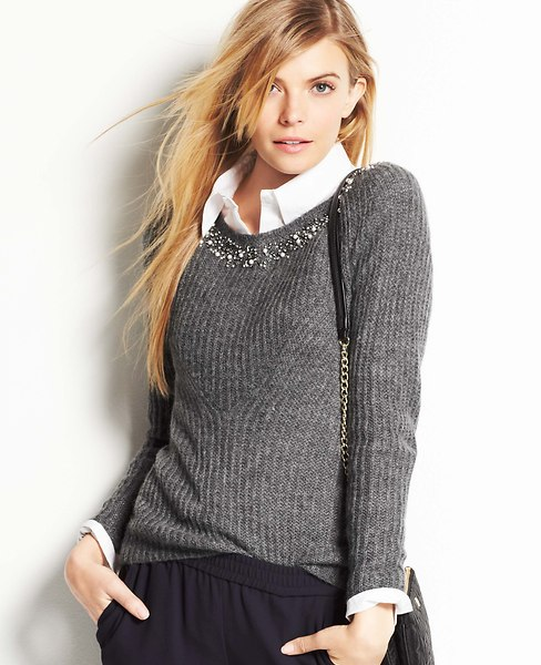 Jeweled Collar Sweater | Ann Taylor