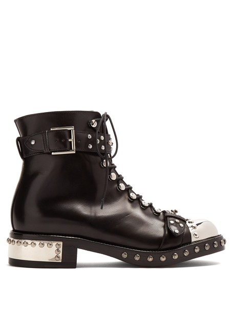 Alexander Mcqueen leather ankle boots embellished ankle boots leather black shoes