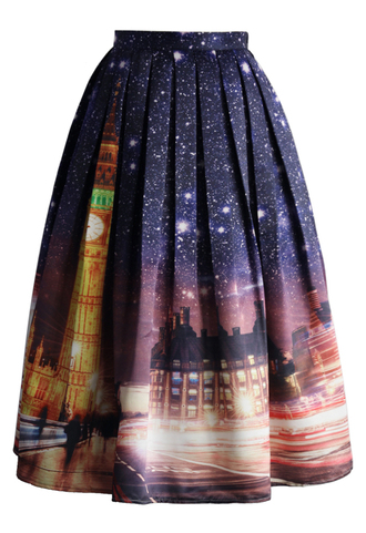 skirt splendid big ben night printed midi skirt chicwish printed ksirt pleated skirt midi skirt