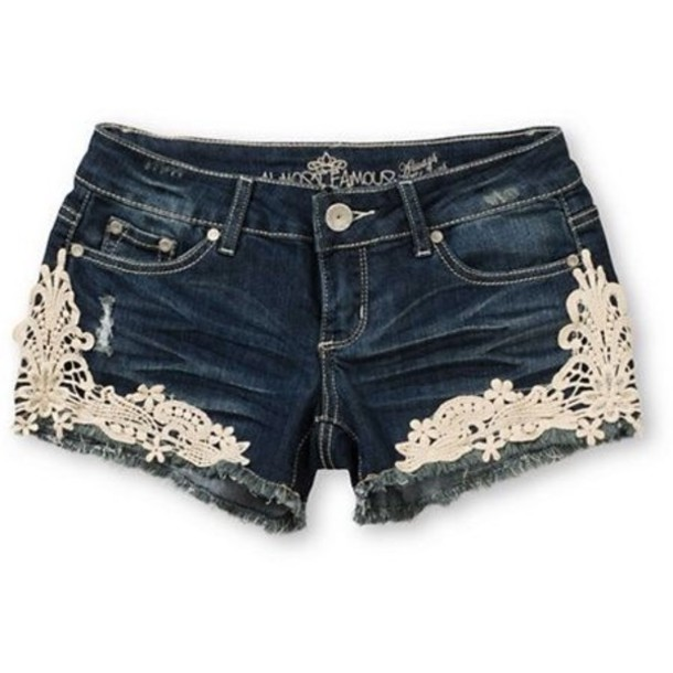 Shorts: lace shorts, white lace shorts, jeans, blue jean shorts ...