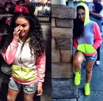 jacket sweater india westbrooks colorful neon grey hoodie zip cotton comfy winter outfits fashion style girly shoes old school orange high heels