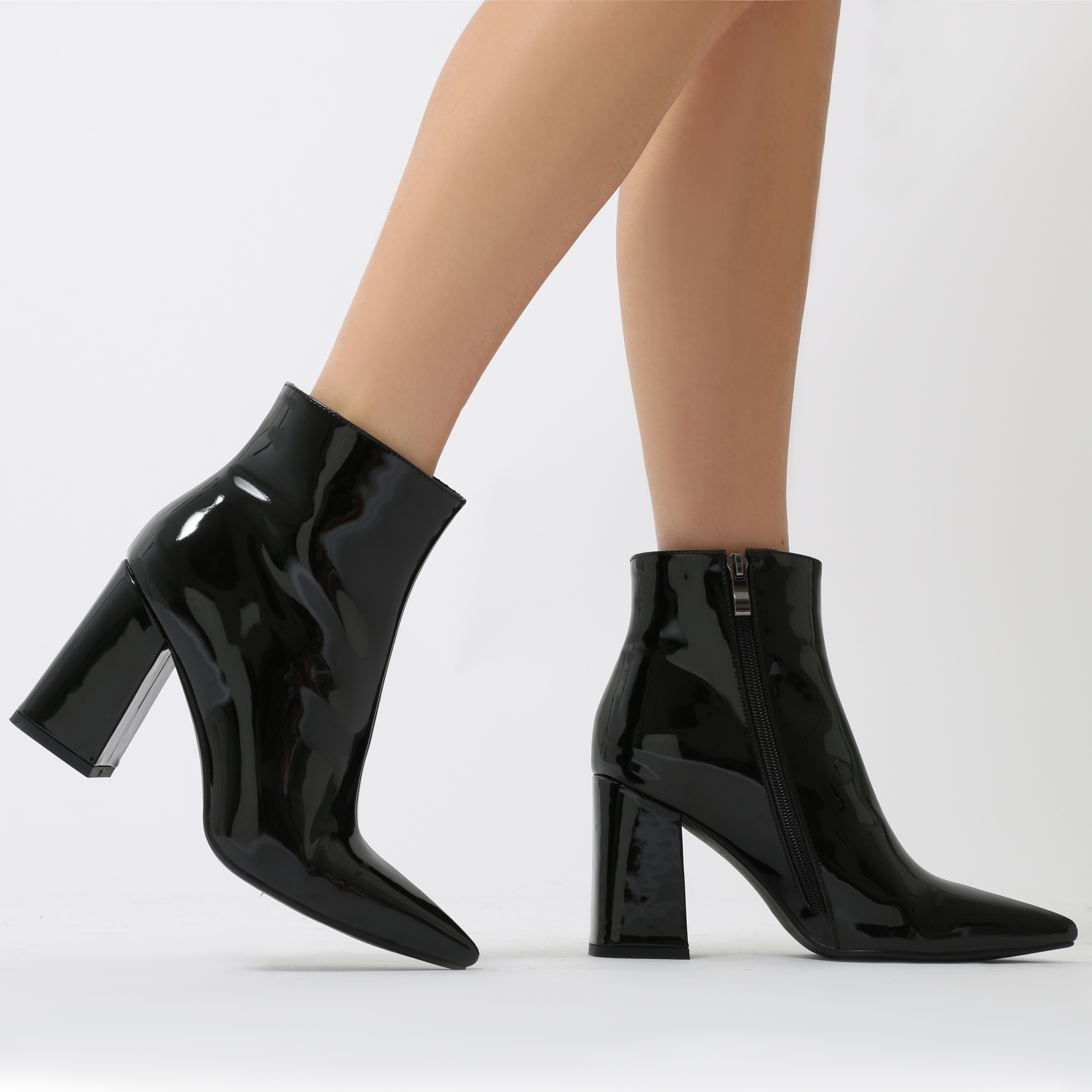 Empire Pointed Toe Ankle Boots in Black Metallic
