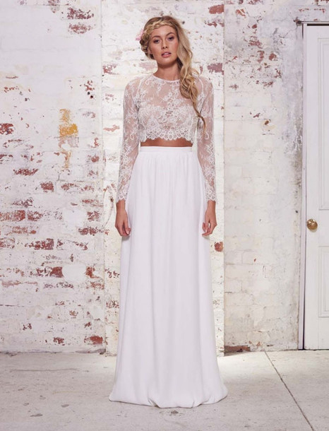 20e65f152 green wedding shoes blogger hipster wedding two-piece lace top wedding  clothes maxi skirt skirt