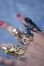 jewels,octopus,ring,gold,black,sea creatures