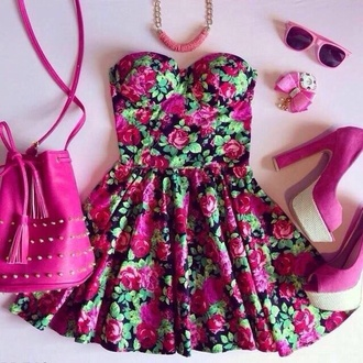 floral dress fashion pink dress floral sunglasses necklace handbag strapless pink handbag strapless dresses rhinestones