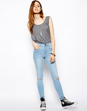 ASOS | ASOS Ridley Supersoft High Waist Ultra Skinny Jeans in Watercolour Blue with Busted Knees at ASOS