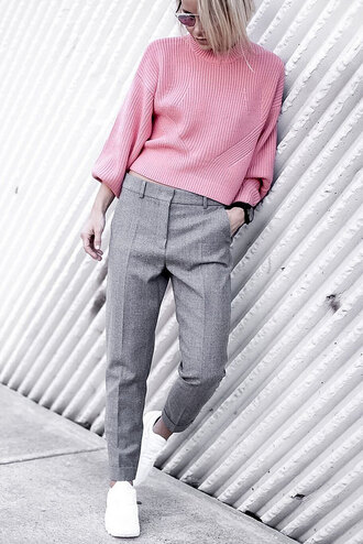 happily grey blogger sweater pants bag shoes pastel pastel sweater grey pants pink sweater